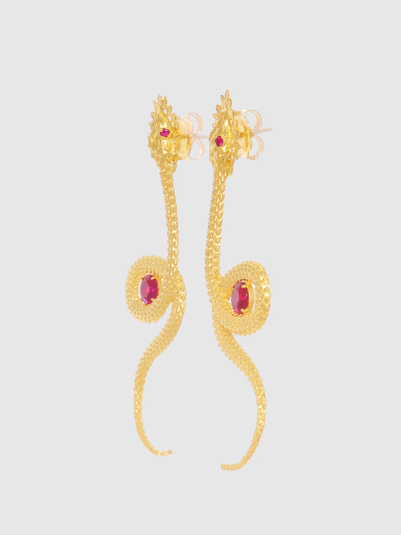 Red Snake Long Earrings