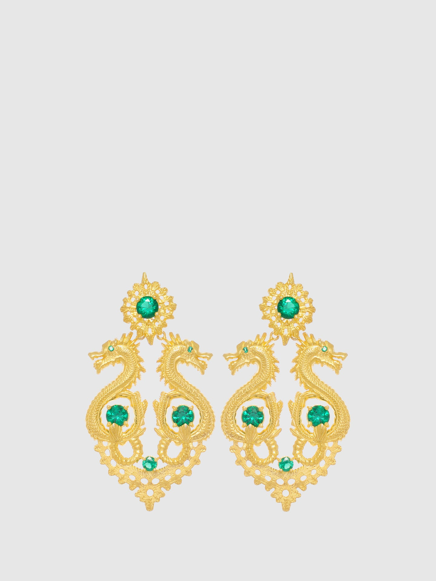Portugal Jewels Green Dragon Queen Long Earrings