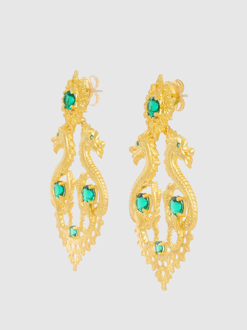 Green Dragon Queen Long Earrings