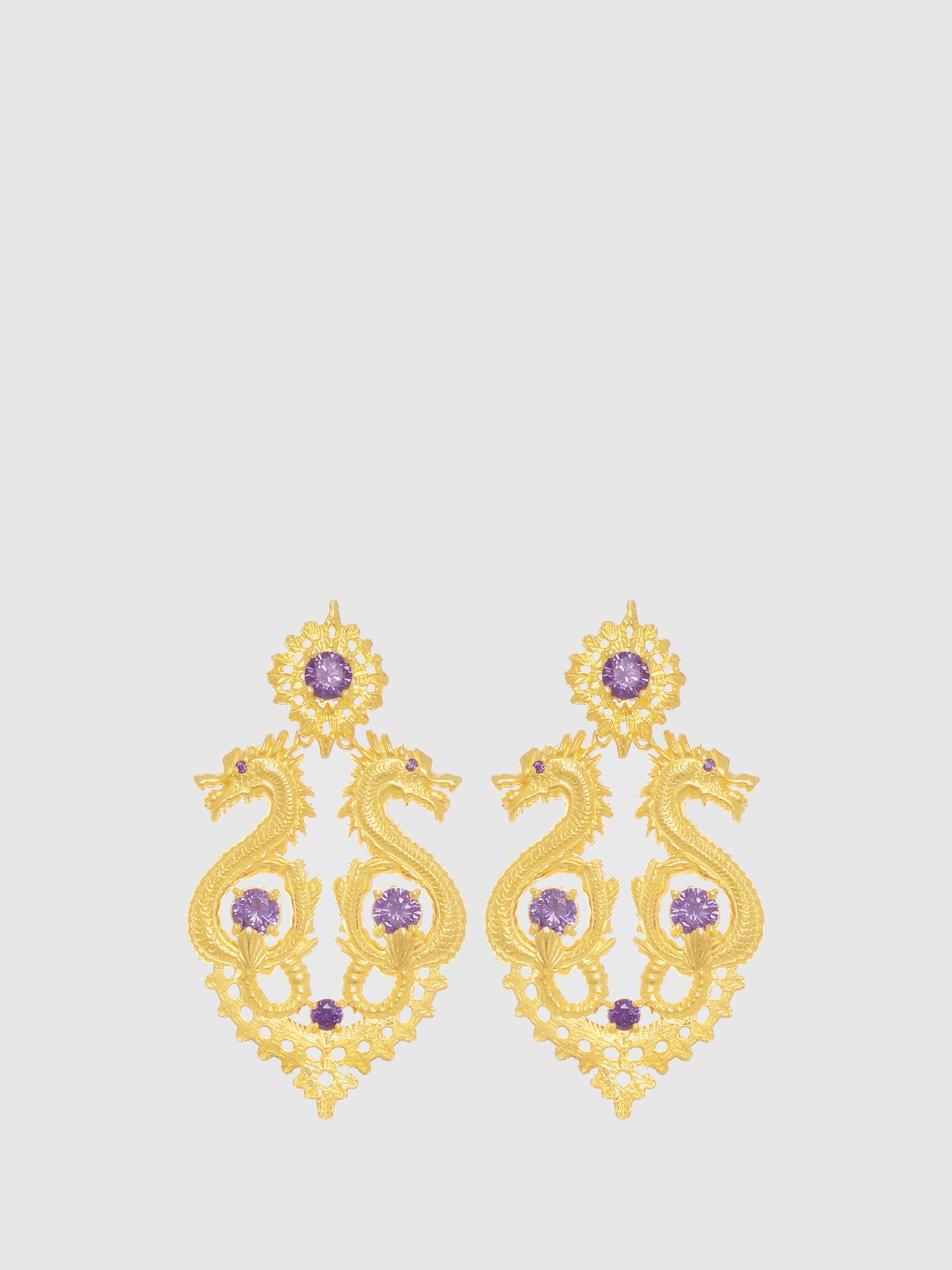 Portugal Jewels Purple Dragon Queen Long Earrings