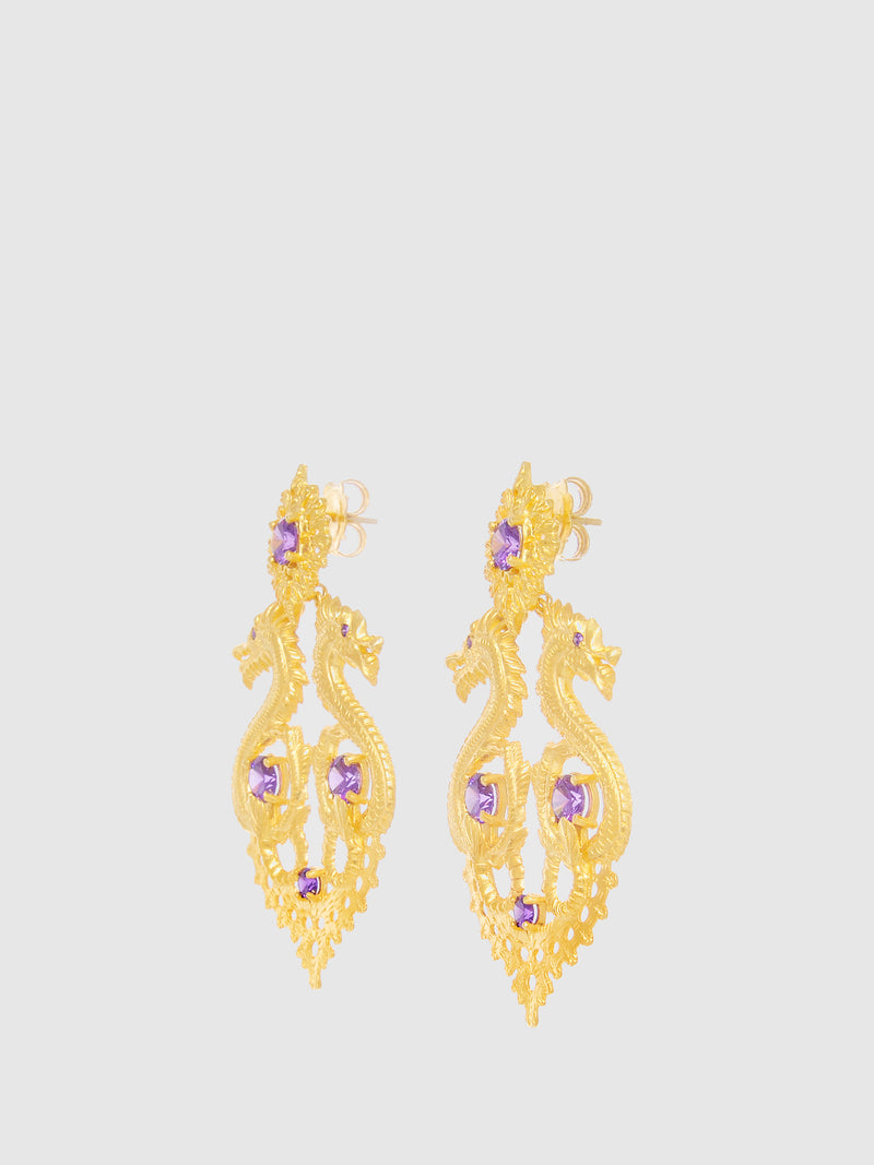 Purple Dragon Queen Long Earrings