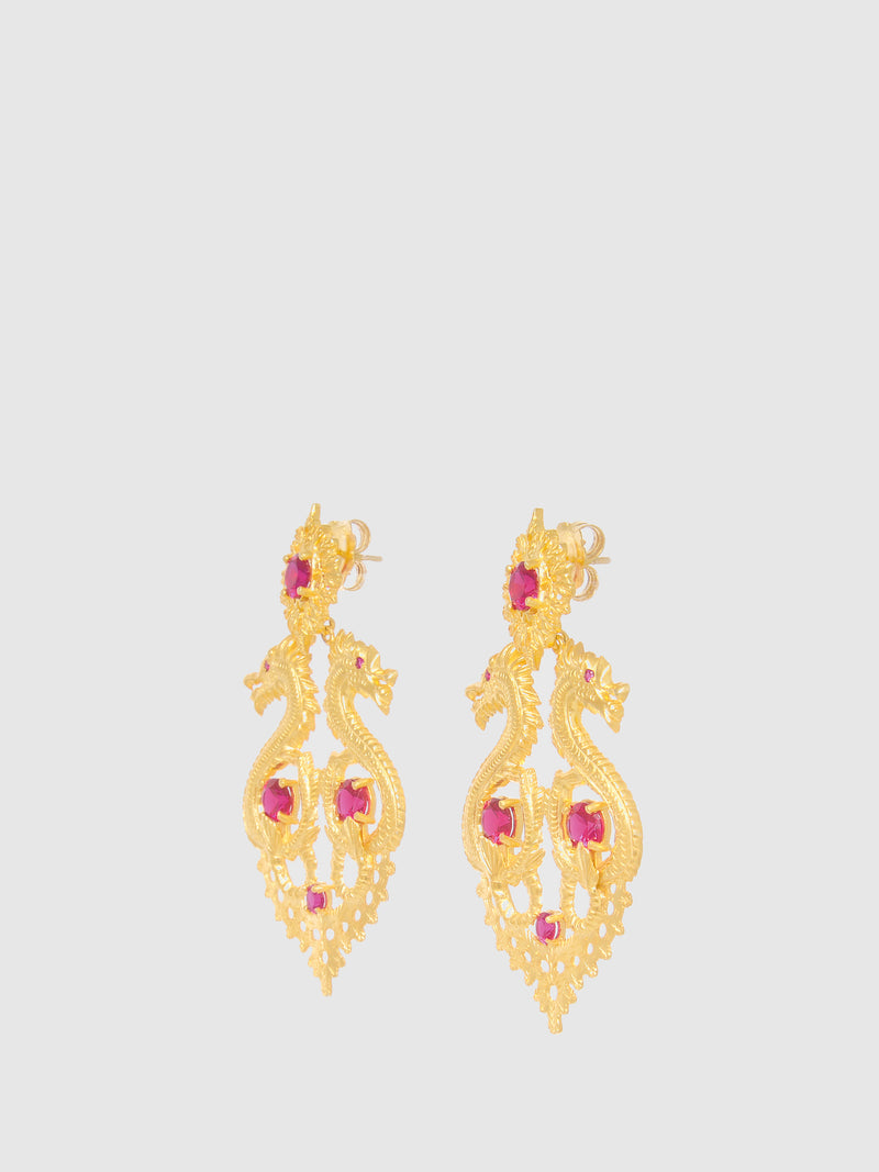 Portugal Jewels Red Dragon Queen Long Earrings