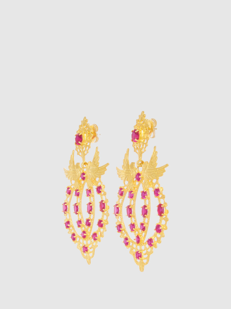 Red Queen Dove Long Earrings