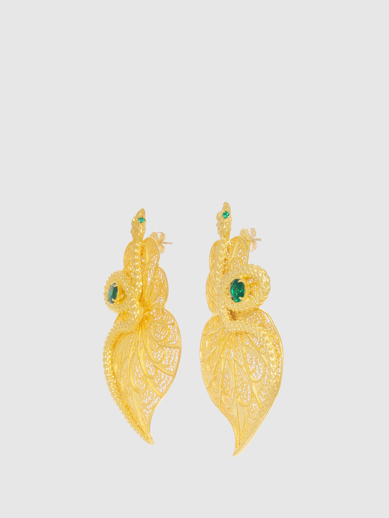 Green Snake Heart Long Earrings