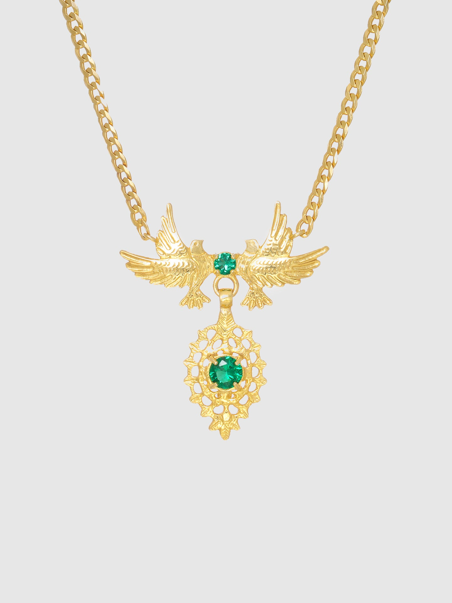 Portugal Jewels Green Stones Dove Queen Necklace