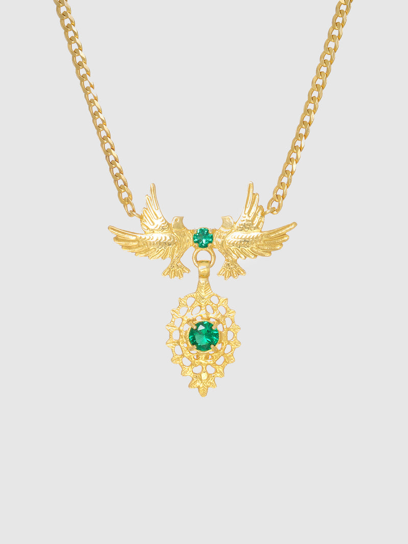 Green Stones Dove Queen Necklace