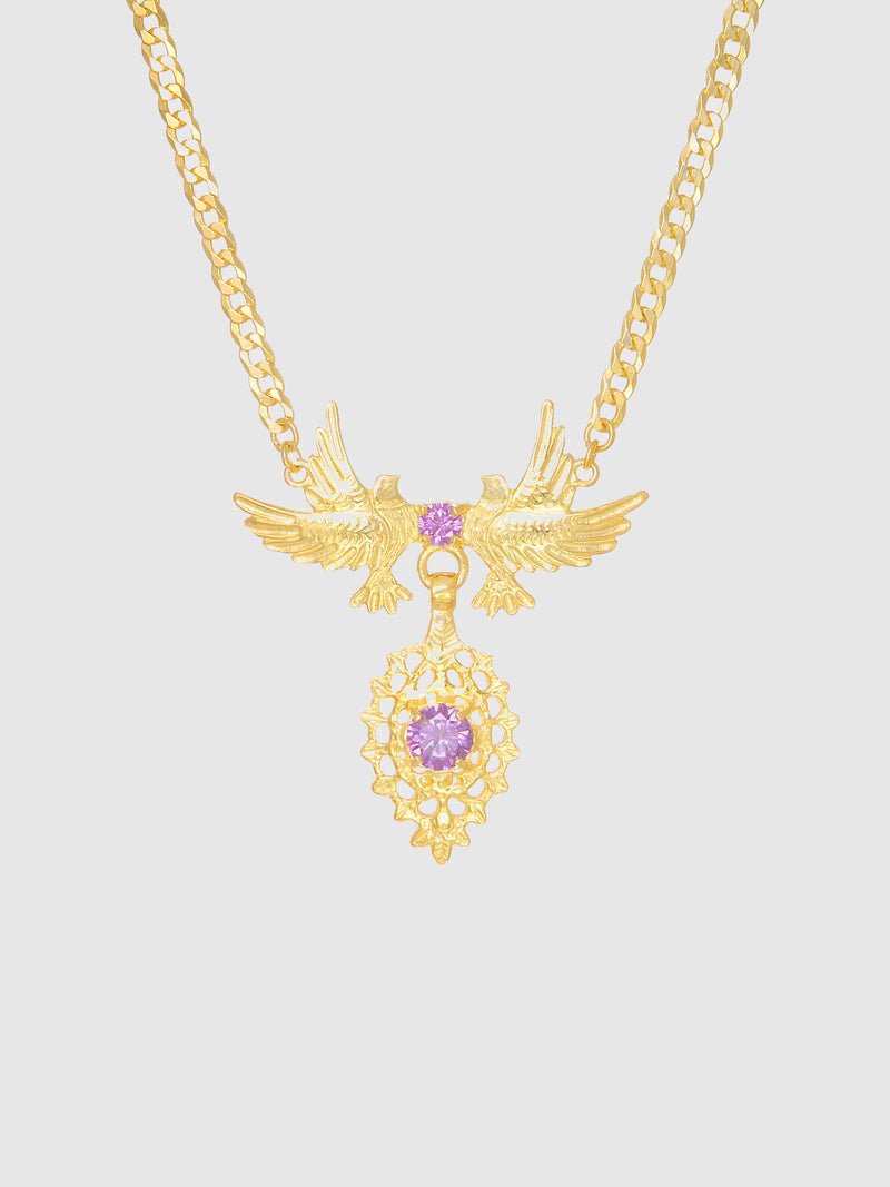 Purple Stones Dove Queen Necklace