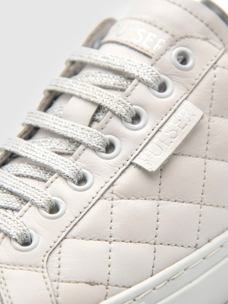 Pulser Shoes Silver White Lace-up Trainers