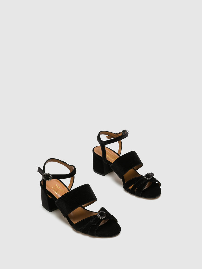 Palazzo VII Black Buckle Sandals