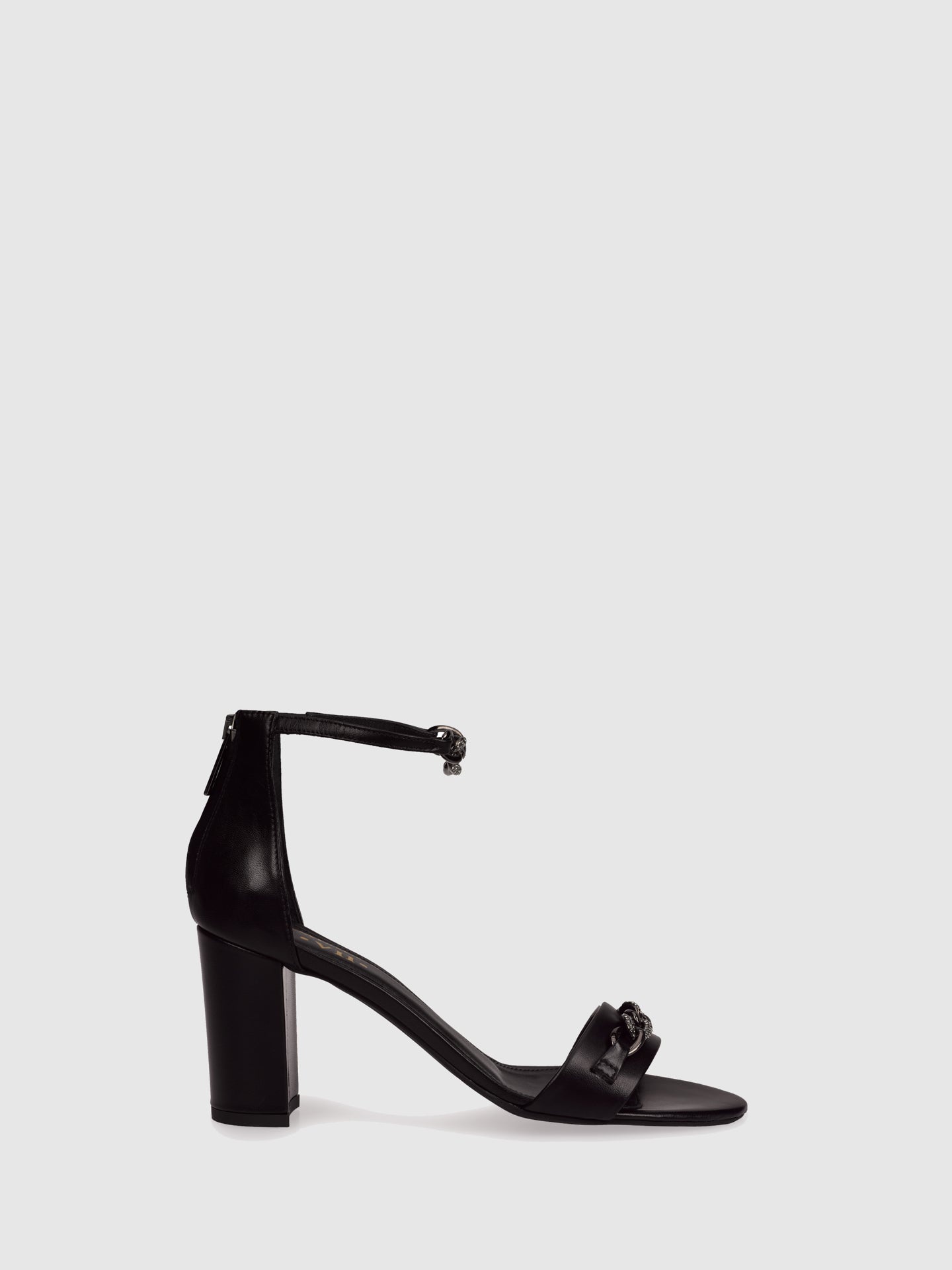 Palazzo VII Black Ankle Strap Sandals