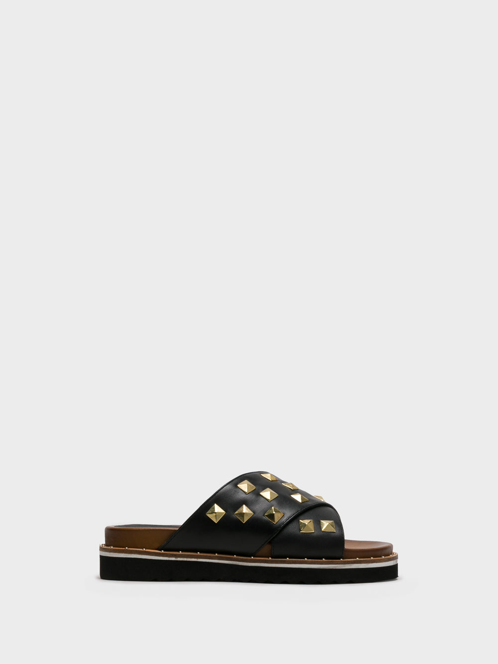 PARODI SUNSHINE Black Studded Mules