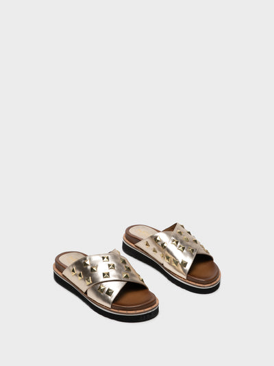 PARODI SUNSHINE Gold Studded Mules