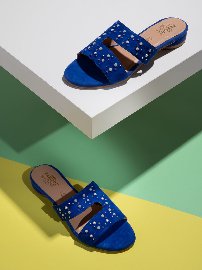 Blue Studded Mules