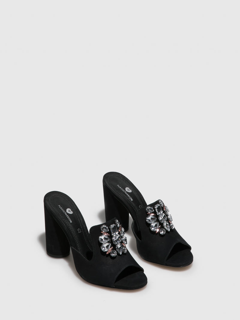 Parodi Passion Black Open Toe Mules