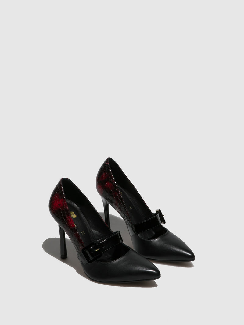 Parodi Passion Red Black Pointed Toe Shoes