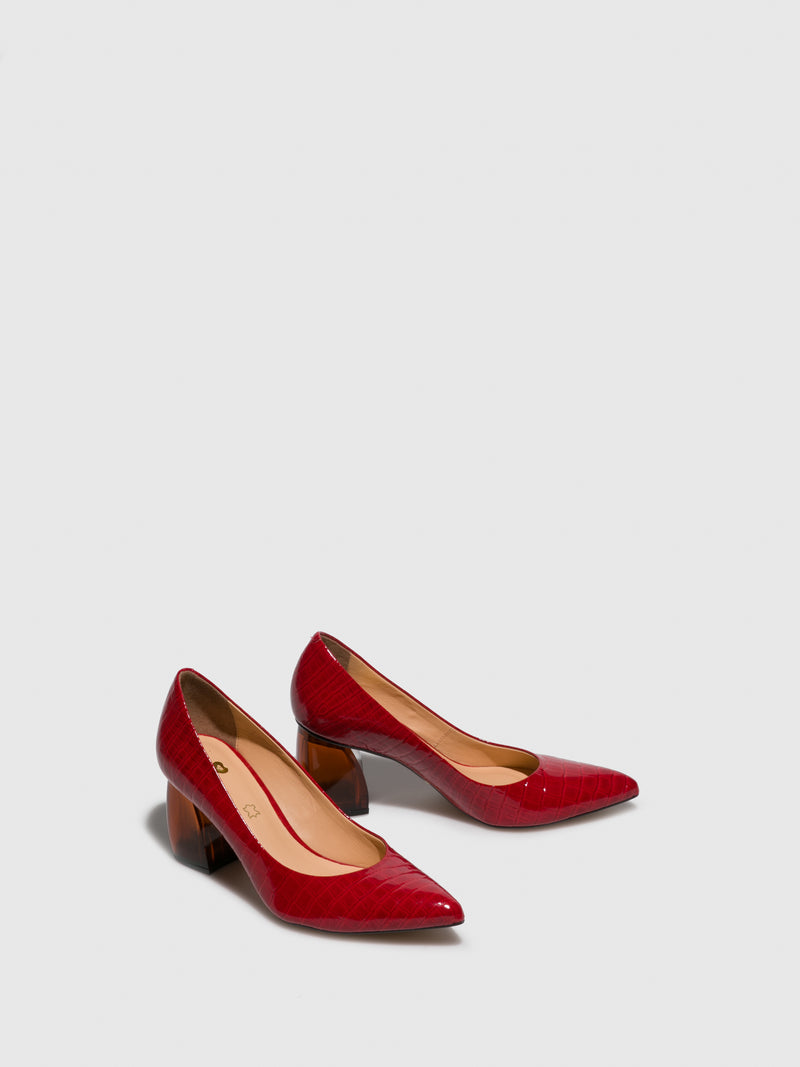 Red Chunky Heel Shoes