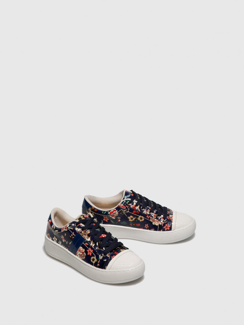 Parodi Passion FloralWhite Lace-up Trainers