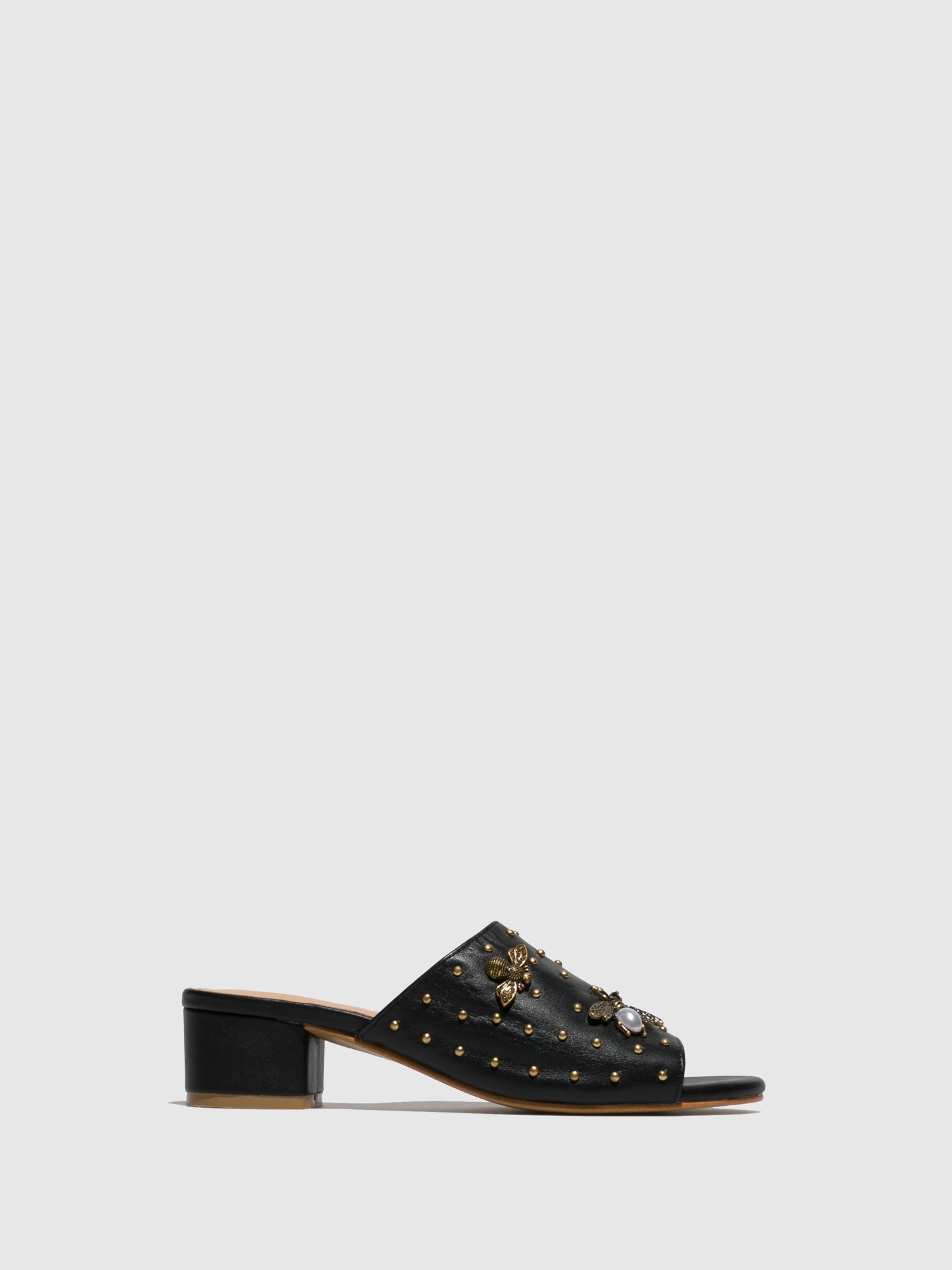Parodi Sunshine Black Open Toe Mules
