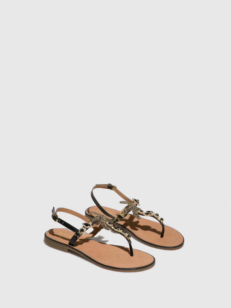 Parodi Sunshine Black Flat Sandals