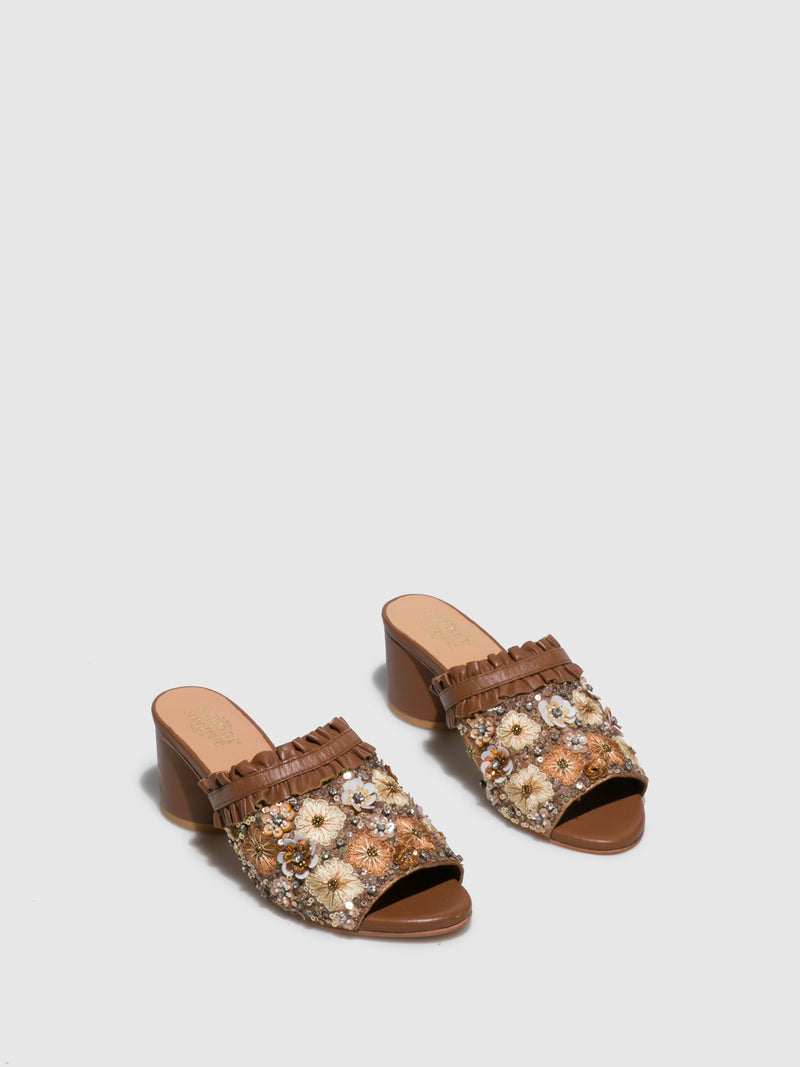 Parodi Sunshine Tan Open Toe Mules