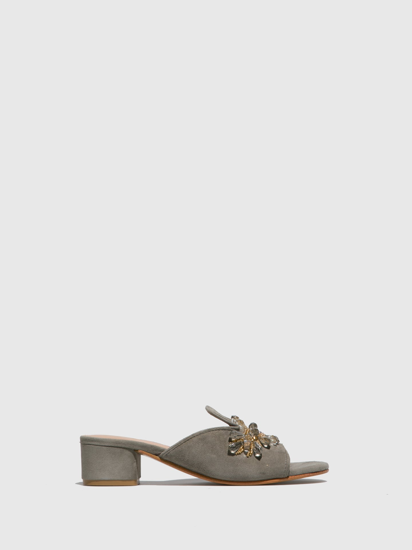 Parodi Sunshine Gray Open Toe Mules