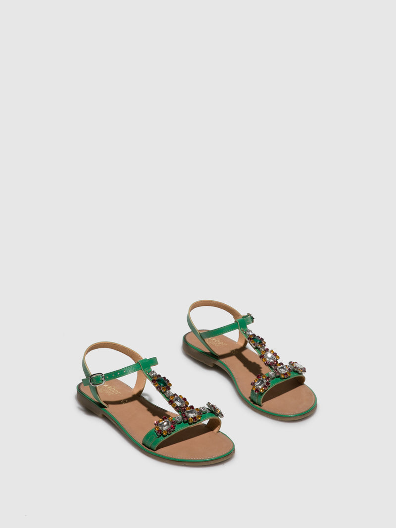 Parodi Sunshine Green Flat Sandals
