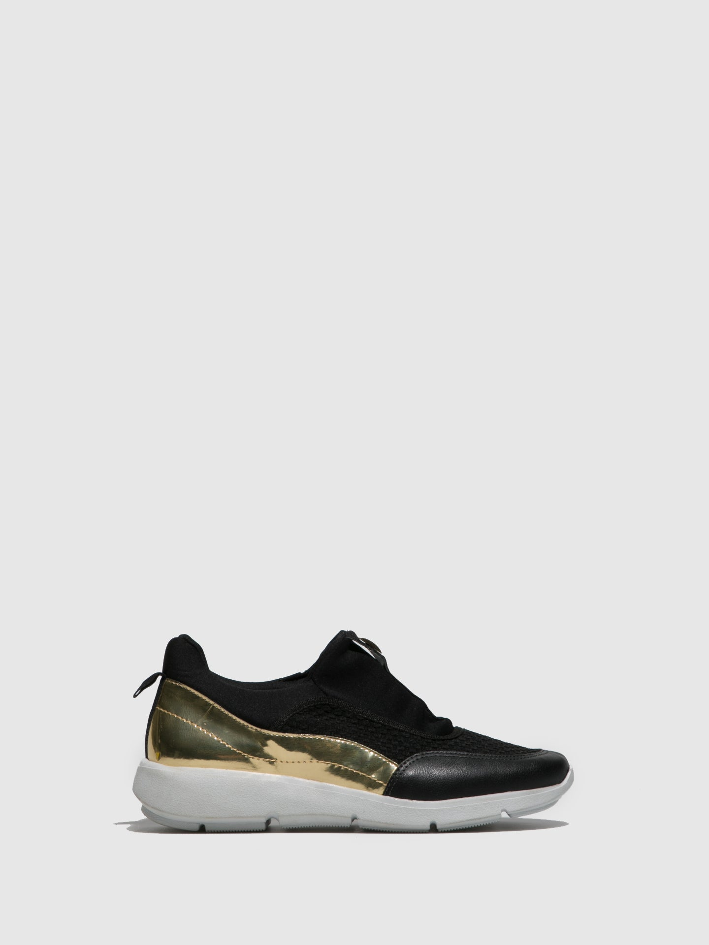 Parodi Sunshine Gold Black Elasticated Trainers