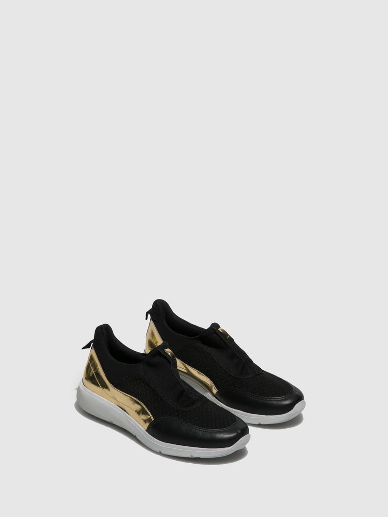 Gold Black Elasticated Trainers
