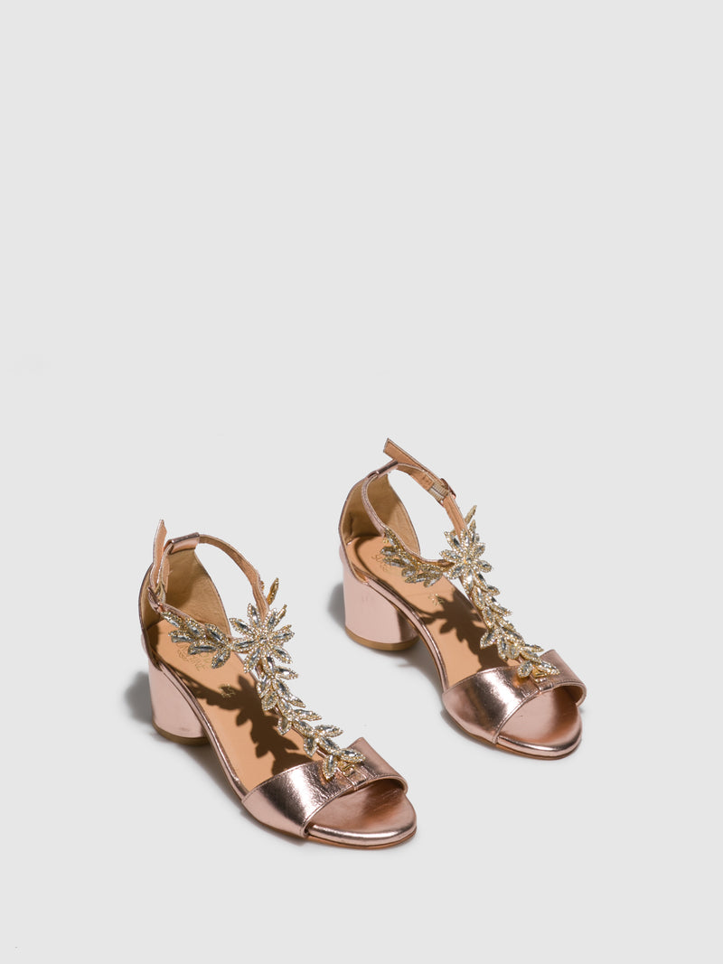 Parodi Sunshine RoseGold Appliqués Sandals