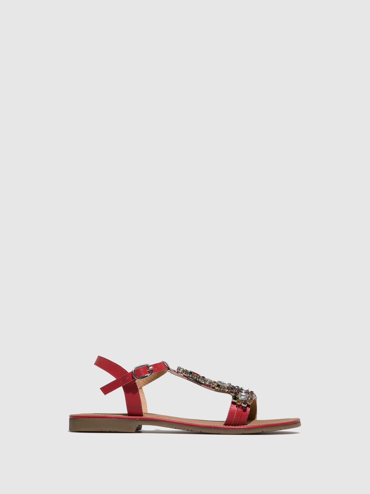 Parodi Sunshine Red Flat Sandals