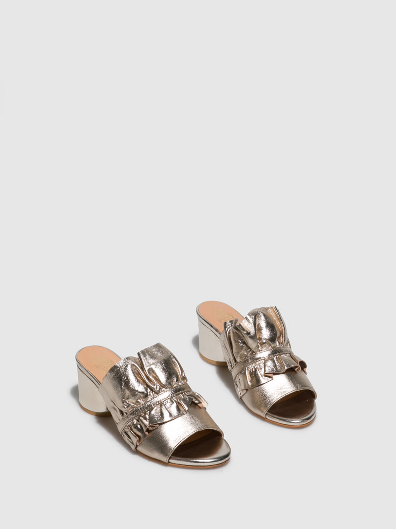 Gold Open Toe Mules