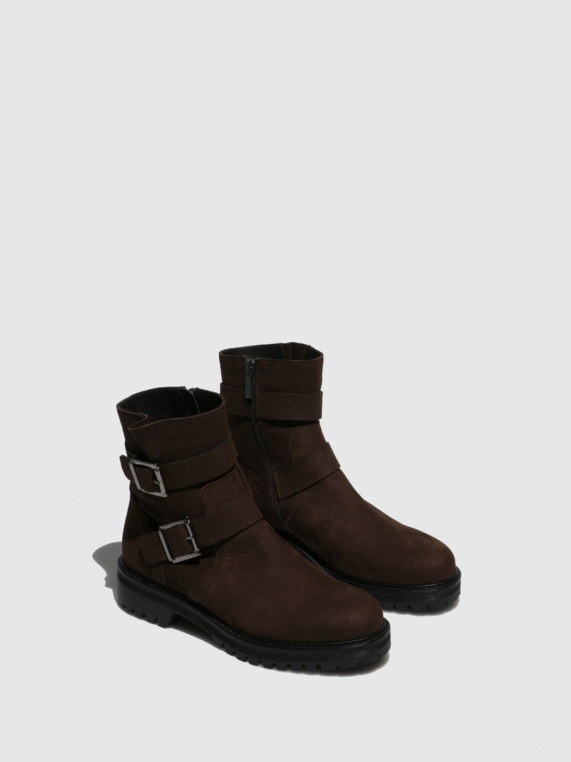 Brown Zip Up Ankle Boots