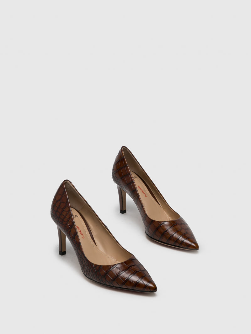 Brown Leather Pointed Toe Shoes