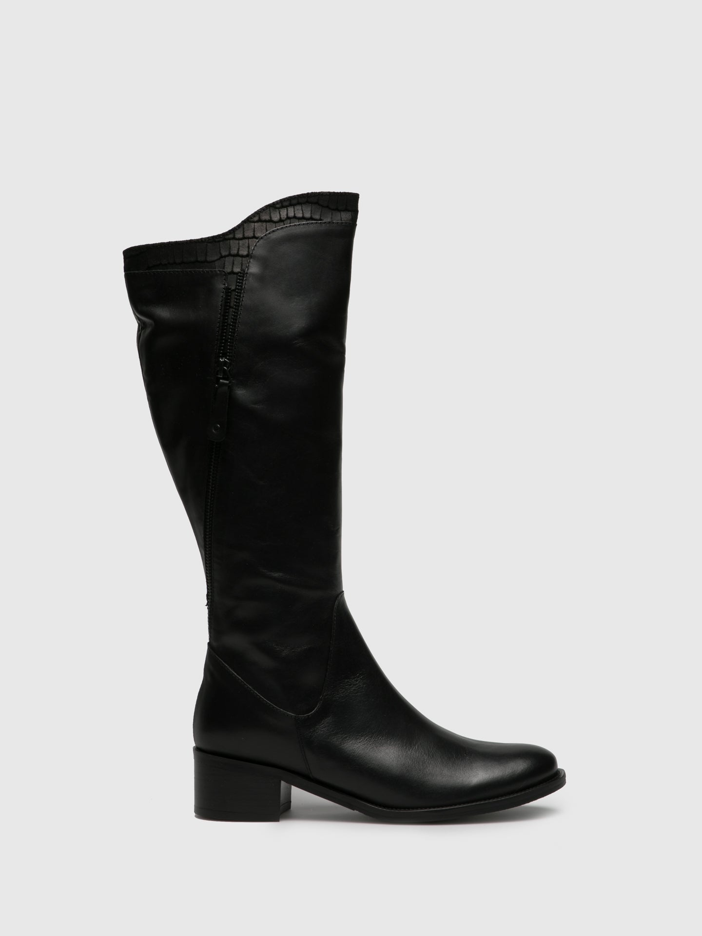 PintoDiBlu Black Leather Knee-High Boots