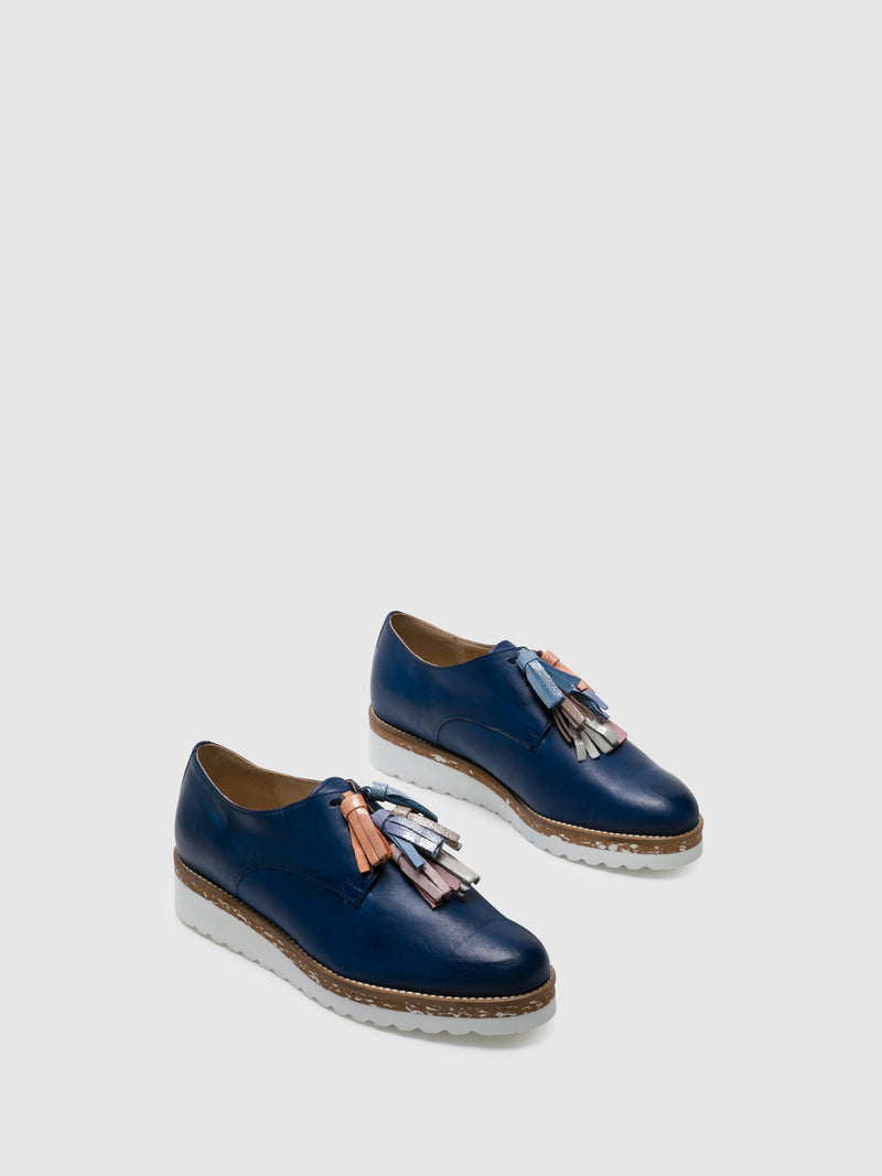 PintoDiBlu Blue Leather Derby Shoes