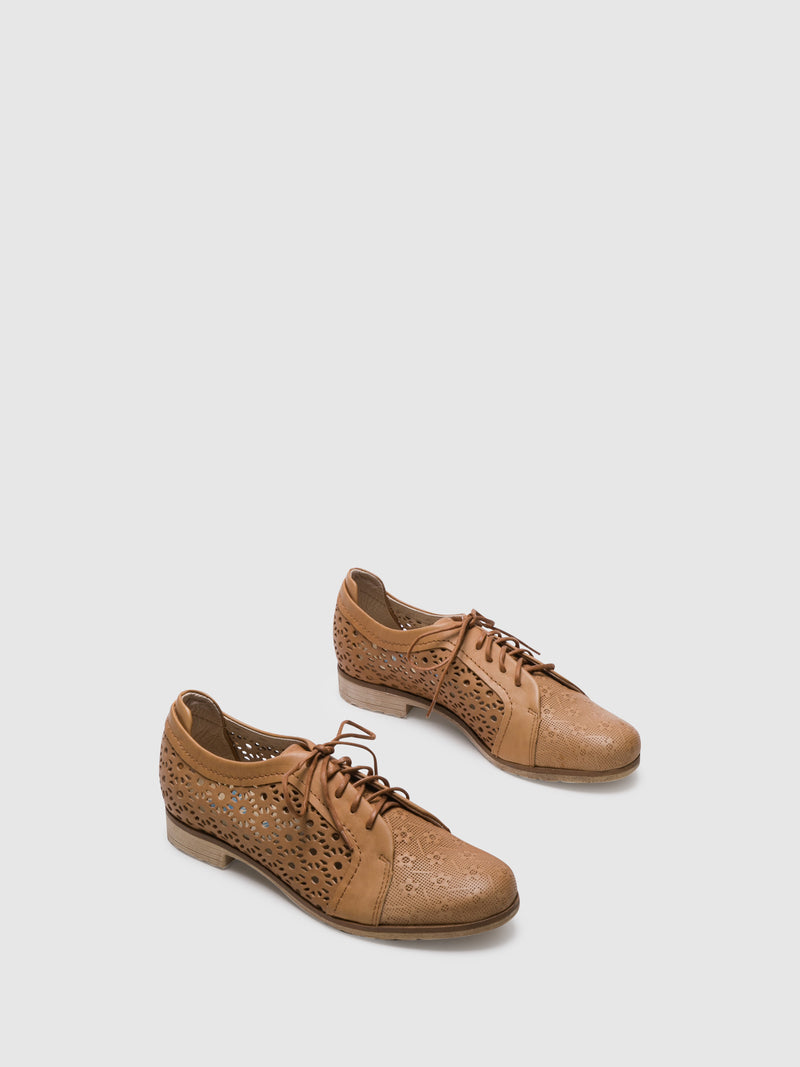 PintoDiBlu Camel Leather Lace-up Shoes