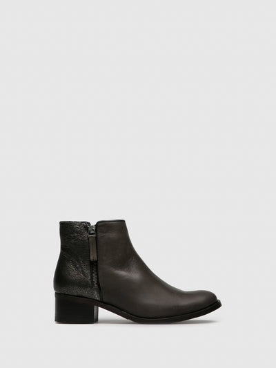 PintoDiBlu Gray Leather Zip Up Ankle Boots