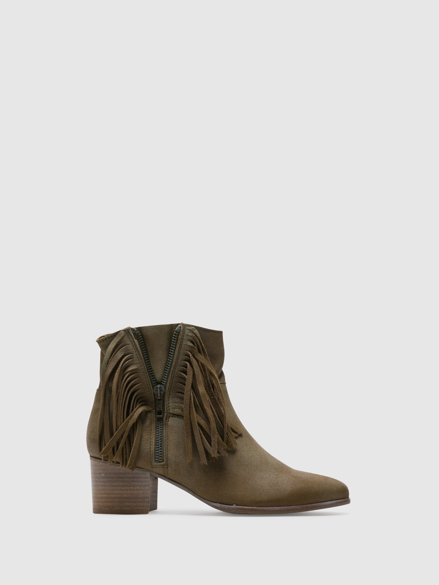 PintoDiBlu Khaki Leather Zip up Ankle Boots
