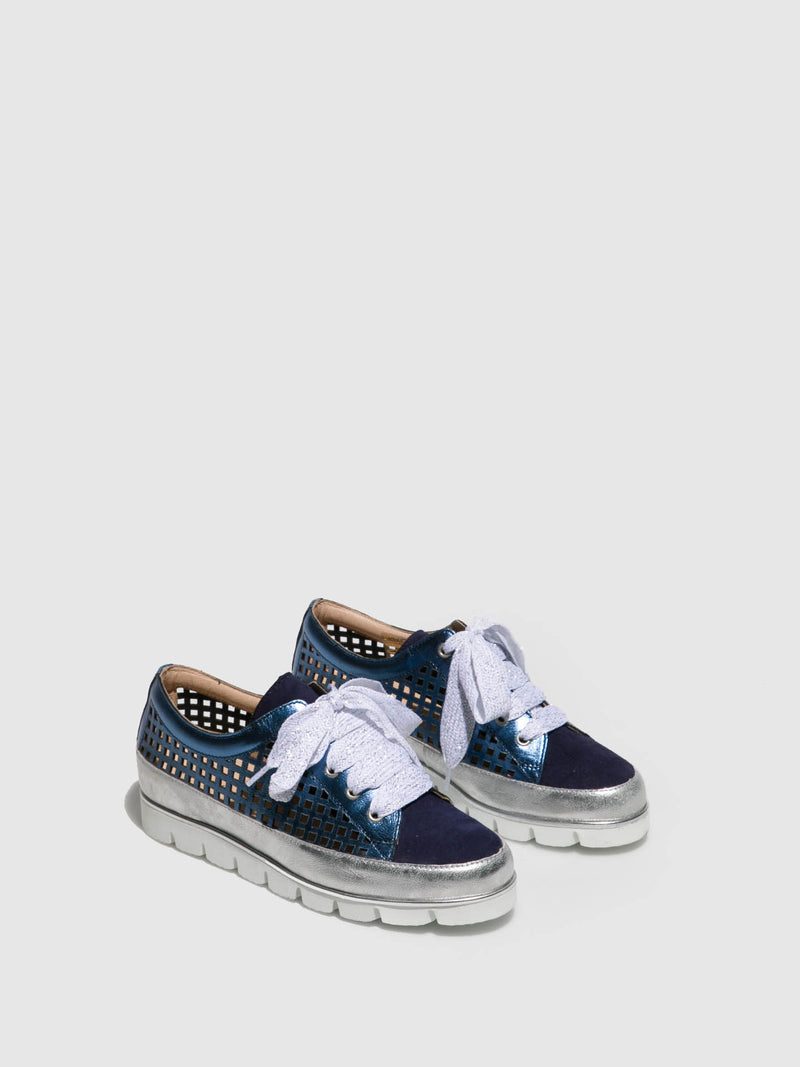 PintoDiBlu Blue Silver Lace-up Trainers