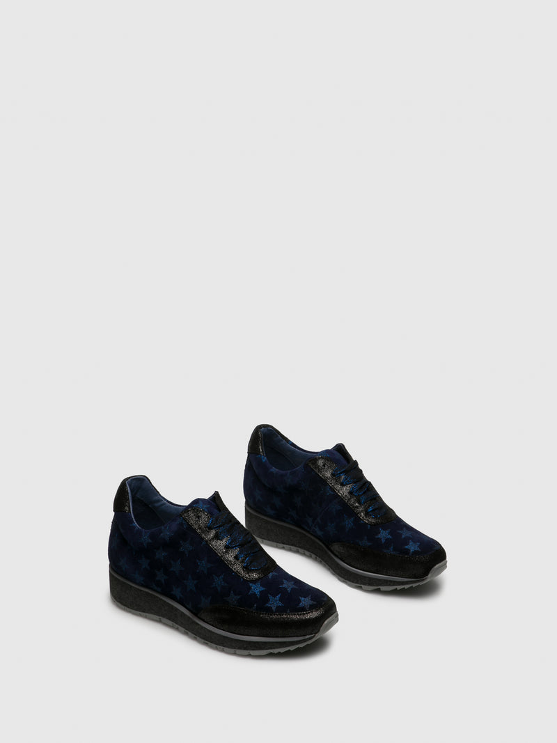 PintoDiBlu Blue Black Lace-up Trainers