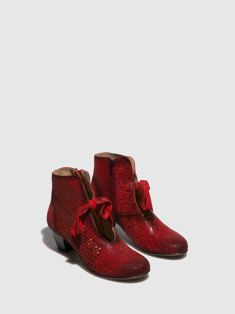 PintoDiBlu Red Zip Up Ankle Boots