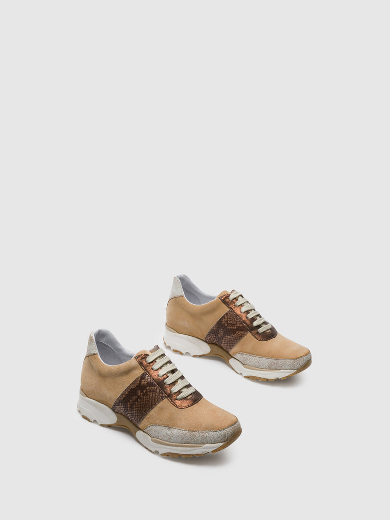 PintoDiBlu Beige Lace-up Trainers
