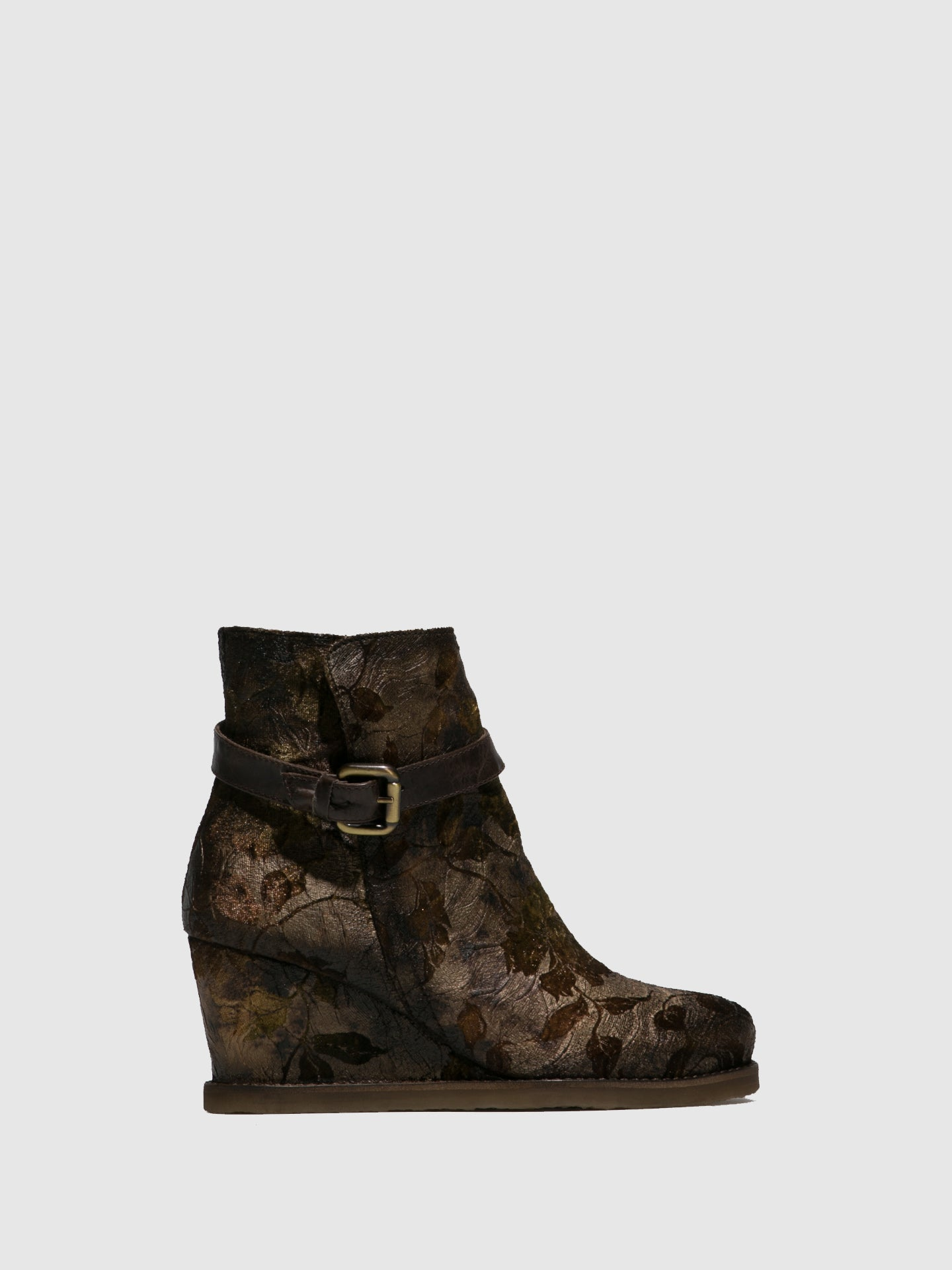 PintodiBlu Brown Buckle Ankle Boots