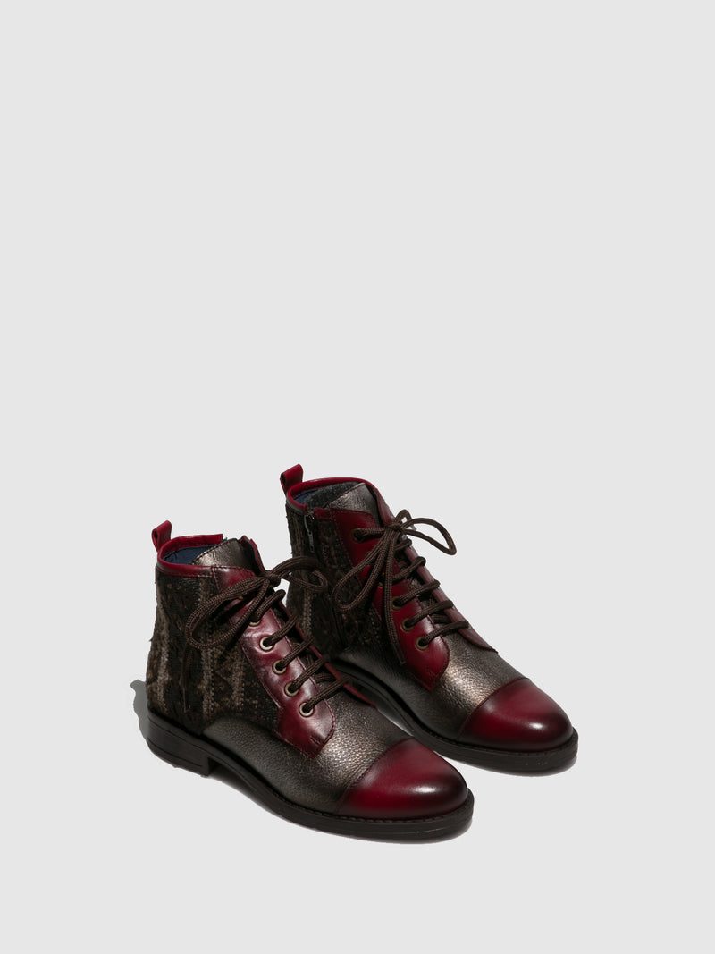 PintodiBlu Red Lace-up Ankle Boots