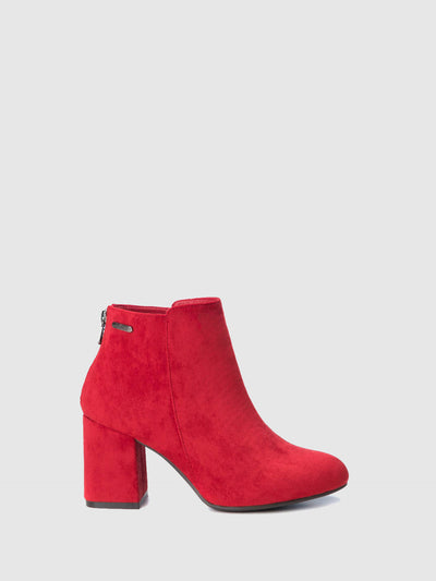 Refresh Red Zip Up Ankle Boots