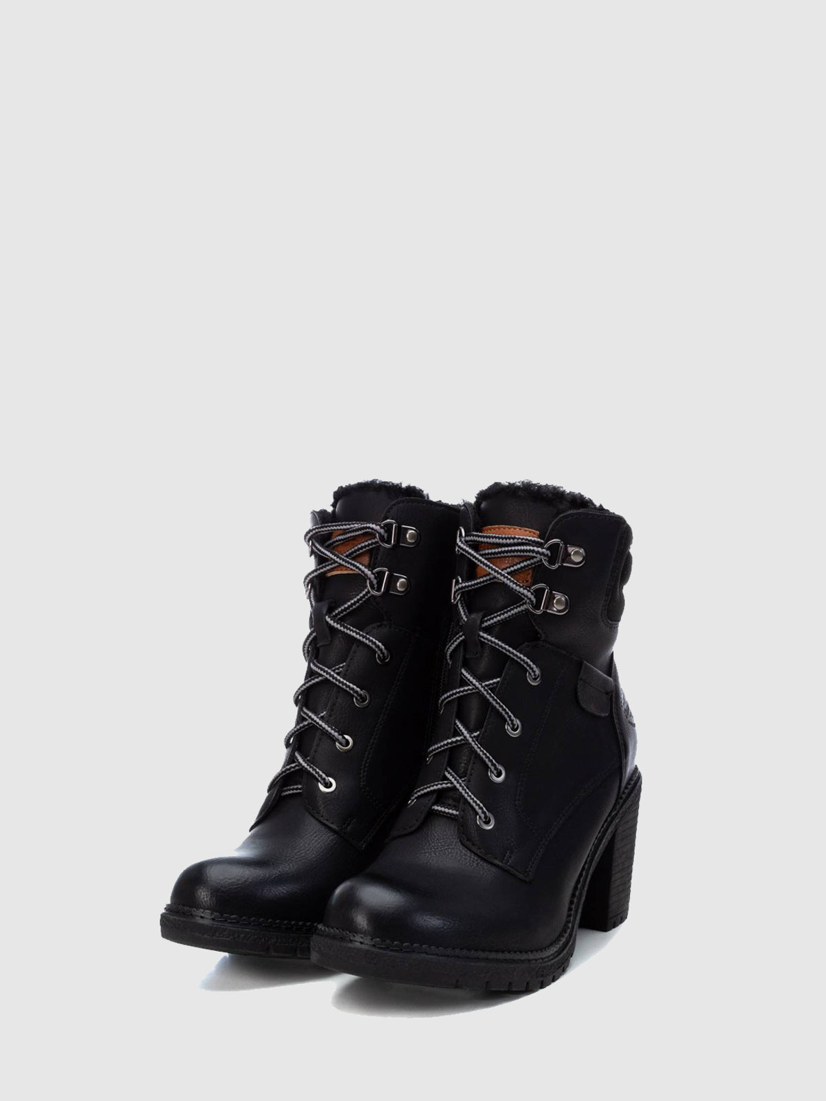 Refresh Black Zip Up Ankle Boots