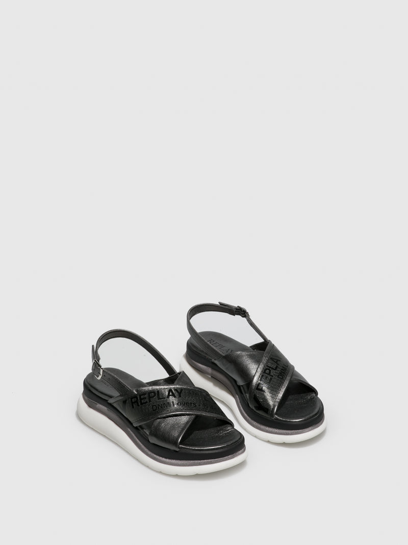 Replay Black Platform Sandals