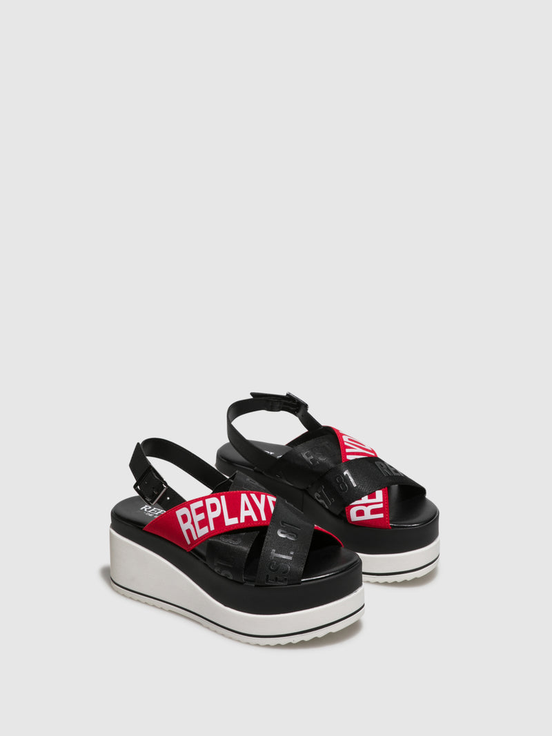 Replay Red Black Wedge Sandals