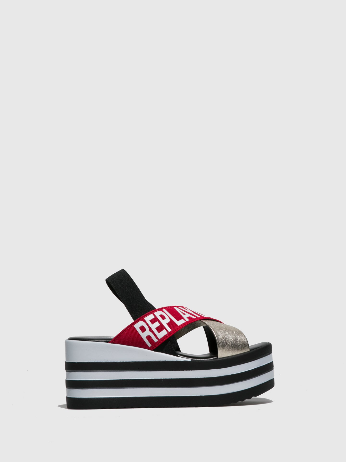 Replay Red Platform Sandals