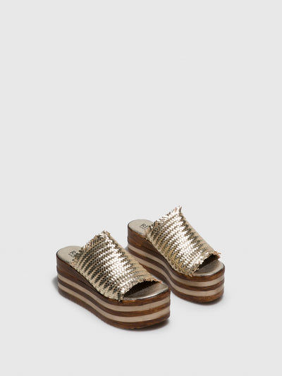 Replay Gold Platform Sandals